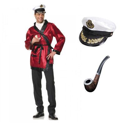 3-teiliges Hugh Hefner Herren Kostüm Morgenmantel Mütze Bademantel Pfeife - Play Boy Kostüm