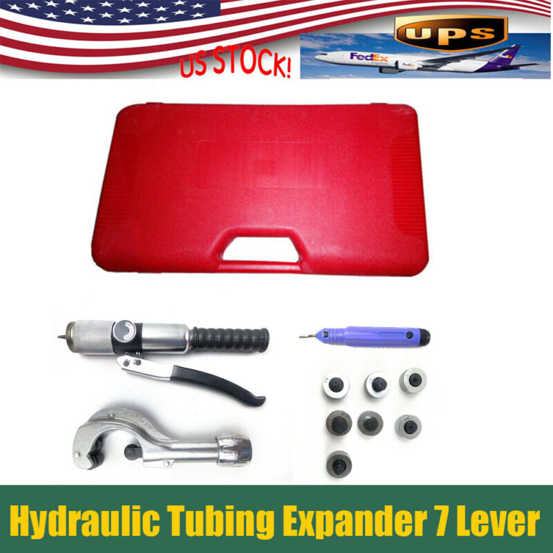 Hydraulic Tubing Expander 7 Lever Swaging Too Kit HVAC Tools Tube Piping Pipe