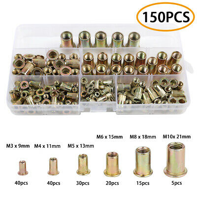 150pcs Zinc Plated Carbon Steel Rivet Nuts Flat Head Nutsert M3 M4 M5 M6 M8 M10