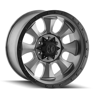 "(5) 17"" Cali Offroad Gunmetal Wheels Jeep Wrangler JK 33"" Mud Tires Package"