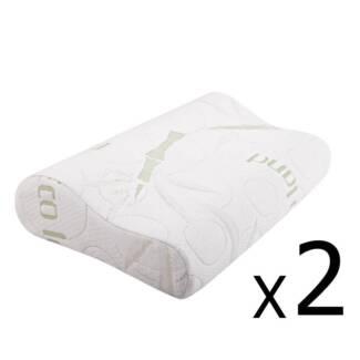 Set of 2 Bamboo Fabric Cover Contour Memory Foam Pillow 50 x 30 c