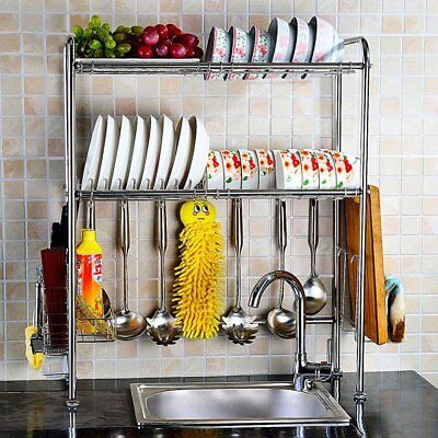Stainless Steel Over Sink Dish Drying Rack Bowl Shelf Kitchen Cutlery Holder