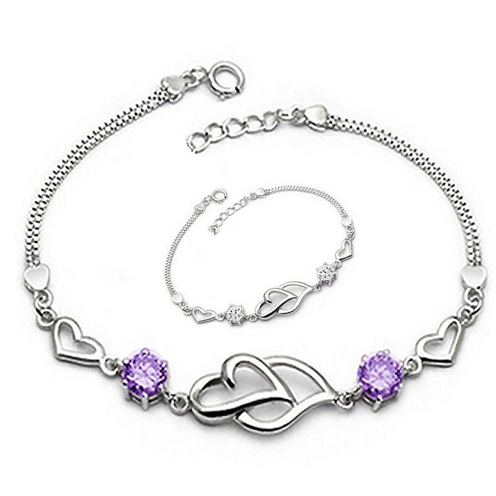 Armband Armkette Kristall Zirkonia Doppel Herz 925 Sterling Silber plattiert