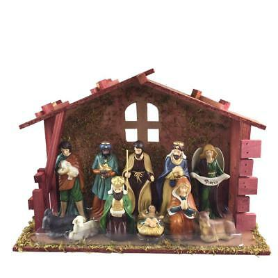 Home Accents Holiday 13 Piece Nativity Set with Stable Porcelain NEW