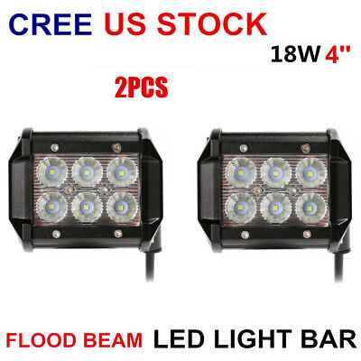 "2x 4"" pods 18W CREE LED Work Light Bar 4WD Flood Offroad Driving Fog Lamp SUV"