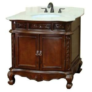 Bellaterra Home Ashby 34-6/10 in. W x 36 in. H Single Vanity in Walnut with Marble Vanity NEW ** 5 CORNERS FURNITURE **