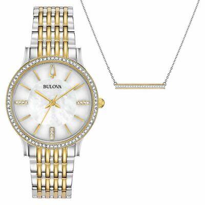Bulova Women's Quartz Crystal Accents 32mm Watch and Necklace Box Set 98X118