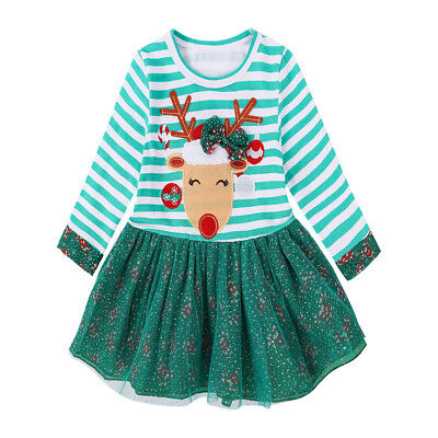 (Toddler Kids Baby Girls Deer Striped Princess Dress Christmas Outfits Green New)