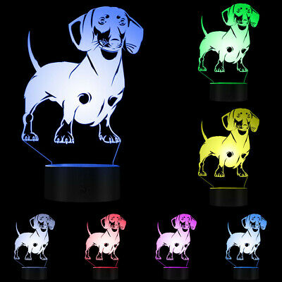 Dachshund Dog Breed 3D Table Lamp Sausage Dog Pet Pug Led Night Light Moon Light