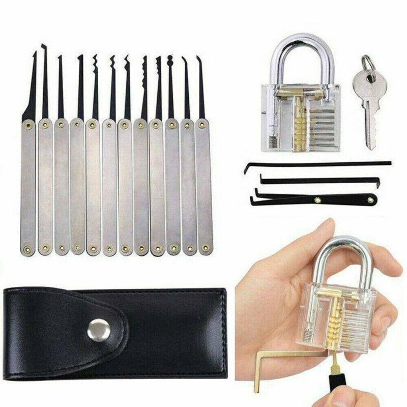 19PCS Transparent Visable Cutaway Practice Padlock Lock Locksmith Train Tools