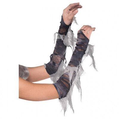 Graue Zombie Armstulpen für Damen Kostümzubehör Untote Braut Halloween Stulpen