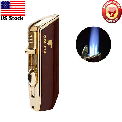 Flame Cherry (COHIBA Metal Classic Red 3 Torch JET Flame Cigar Cigarette Lighter With)