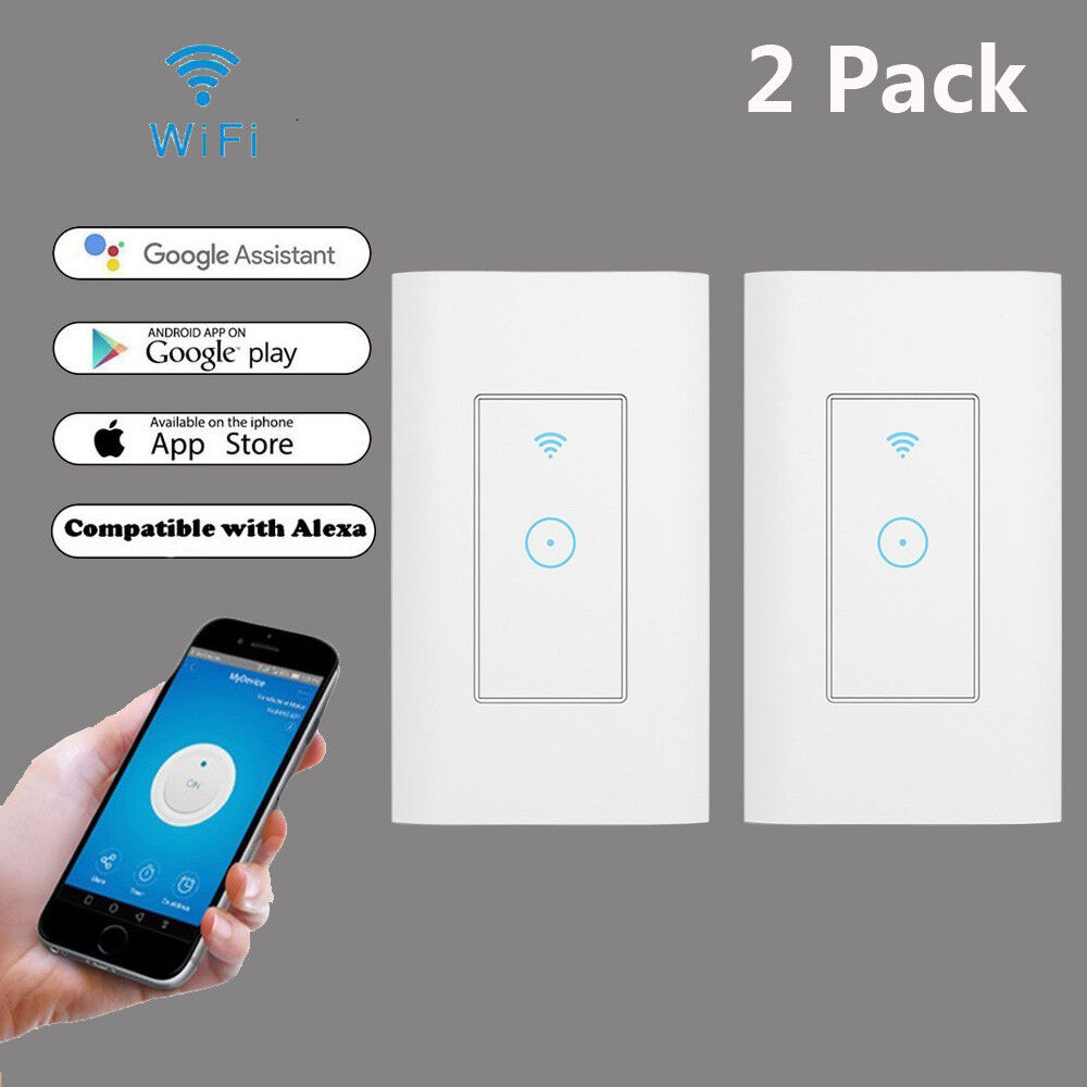 Details about 2Pcs Smart WIFI Light Wall Touch Switch Works w/ Alexa Google  Home IFTTT App USA