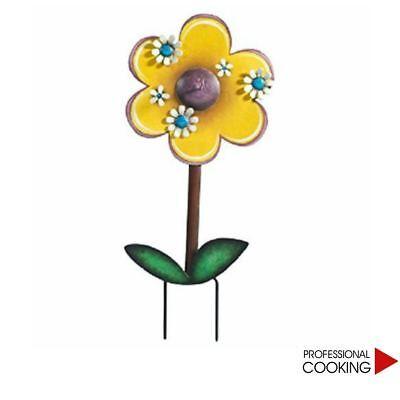 Porta zampirone fiore in metallo verniciato con piedini per fissaggio a terra