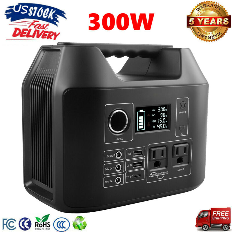 300W Portable Power Station Solar Generator Backup Battery Source Power Supply