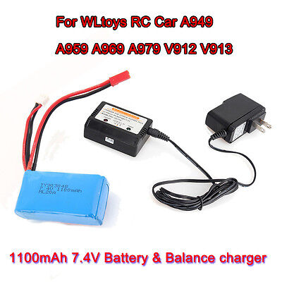 1Pc 7.4V 1100mAh Battery+Balance Charger For WLtoys RC A949 A959 A979 V912 Drone