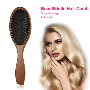 Natural Boar Bristle Hair Brush Comb Oval Anti-static Paddle Massage Scalp Brush