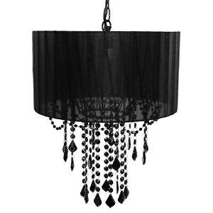 Drum Shade Vintage Style Hanging Lamp Chandelier Black