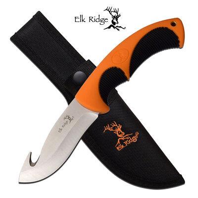 Gut Hook Hunting Knife   Elk Ridge 4  Silver Blade Black Orange Skinner   Sheath