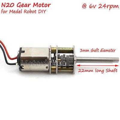 Dc 6v 24rpm Long Shaft Mini Micro Metal Gear Motor Slow Speed Diy Model Robot