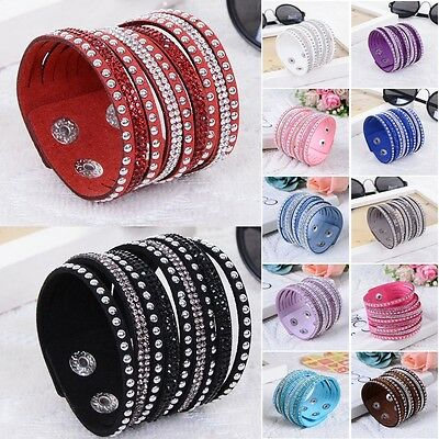 Fashion Leather Wrap Wristband Cuff Punk Crystal Rhinestone Bracelet Bangle IF
