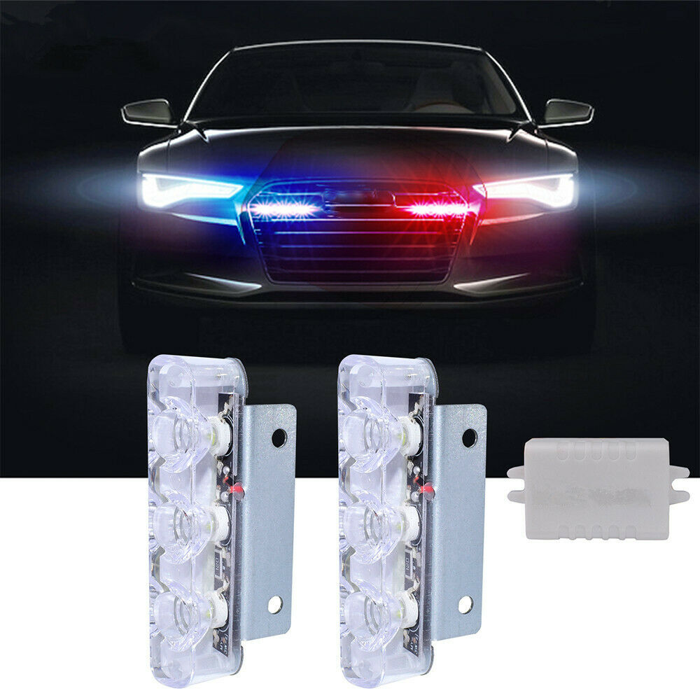 New 2pcs Car Motorcycle Flash Strobe Lights Emergency Led Flashing Lamp Red Blue Ebay