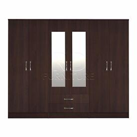 Beatrice wardrobe 4 you, 2,28m wide 6 door walnut wardrobe