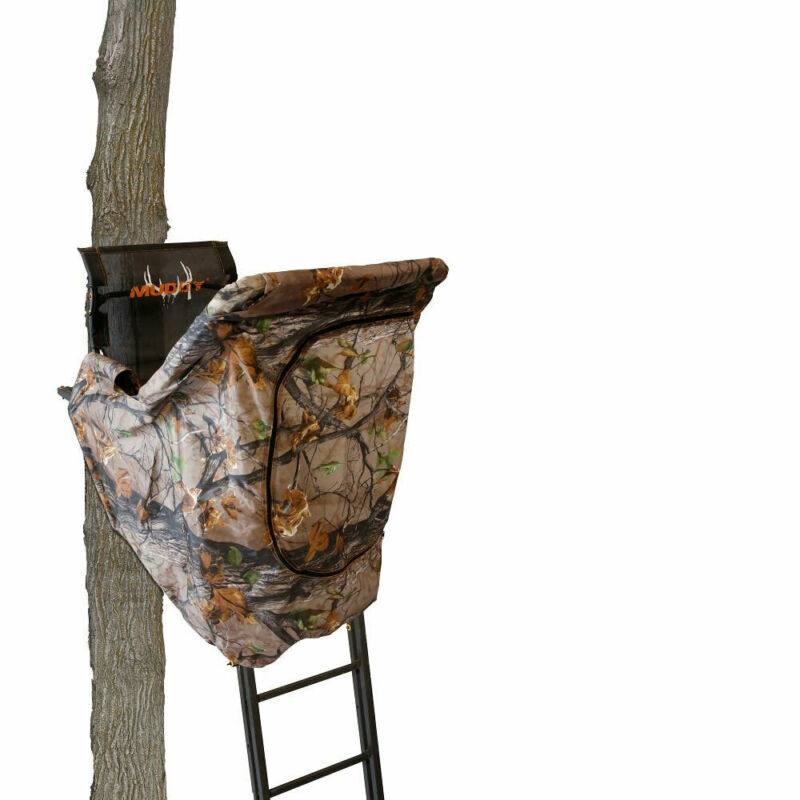 Muddy MLS1550B The Skybox 20 Foot 1 Person Hunting Tree Stand with Blind Kit