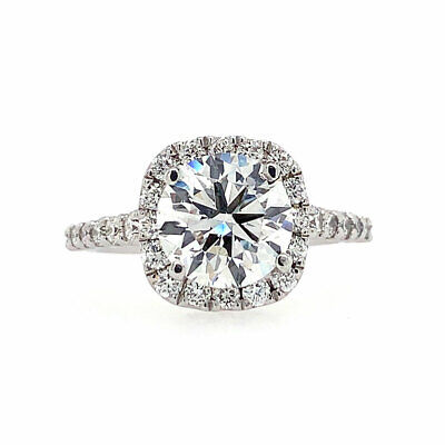 2.76 cttw F/SI-1 GIA Certified Round Diamond Halo Engagement Ring 14K White Gold