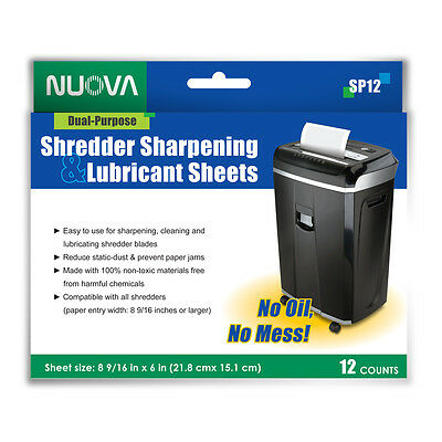 Nuova Shredder Sharpening & Lubricant Sheets - 12 counts