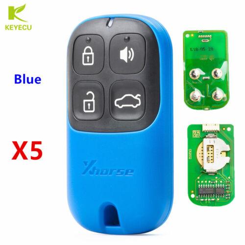 5PCS XHORSE Universal Blue Color Remote Key Fob 4 Button for VVDI Key Tool VVDI2
