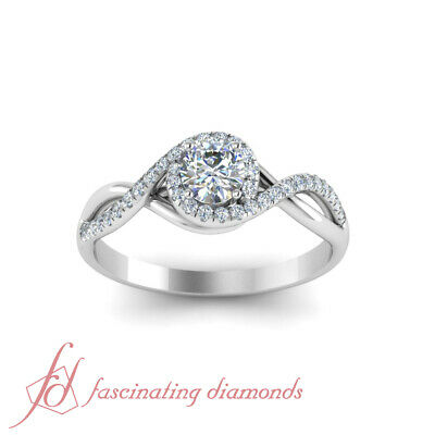 One Carat Round Cut FLAWLESS Diamond Twisted Halo Engagement Ring In White Gold 1
