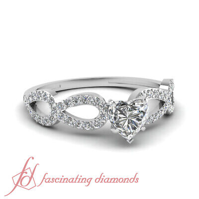 Split Style Engagement Ring Pave Set 0.75 Ct Heart Shaped FLAWLESS Diamond GIA