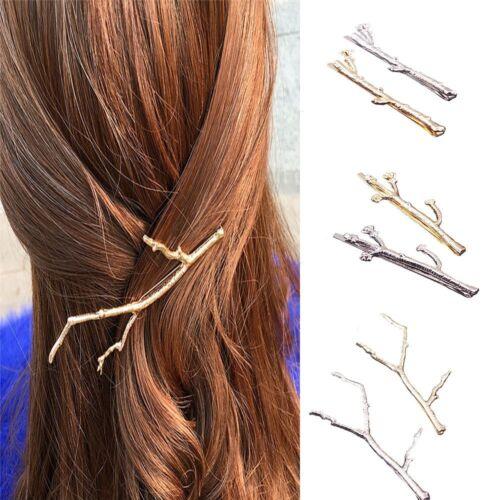 Women Bobby Pins 2PCS Simple Design Wedding Hair Jewelry Metal Leaf Hairpins