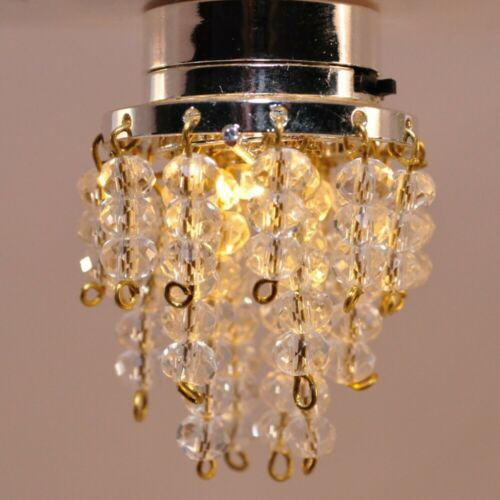 """Dollhouse LED Ceiling Light """"Crystal"""" Beads 1:12 Scale Battery Operated"""