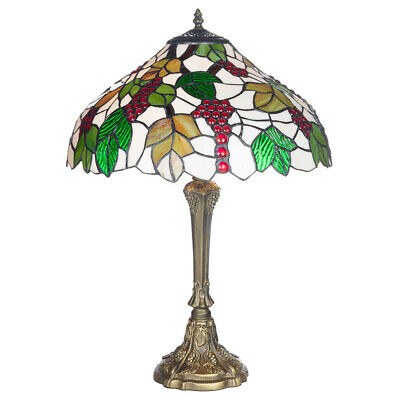 Table Lamp Tiffany Style Antique Brass Finish Base & Stained Glass Shade...