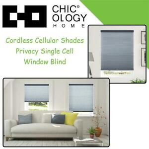NEW Chicology Cordless Cellular Shades Privacy Single Cell Window Blind, 30 W X 64 H, Morning Ocean (Honeycomb Cell...