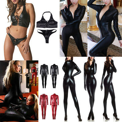 Sexy Ladies Faux Leather Black Wet Look Jumpsuit Women Catsuit Night Outfit Club