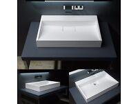 Durovin Stone Rectangular Basin Sink Wall Hung Shelf Or CounterTop Pure Luxury 600mm
