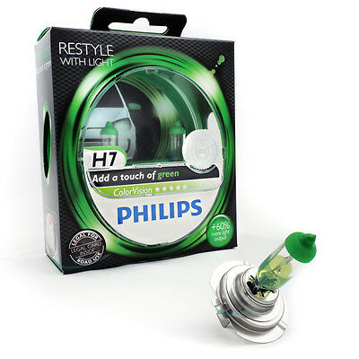 Philips H7 12V ColorVision Color Vision green +60% mehr Licht 2st 12972CVPG 7 Color Twin Pack