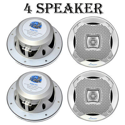 "LOT OF 4) 400W Silver High Quality 6.5"" Marine Car Moto Speakers Indoor Outdoor"