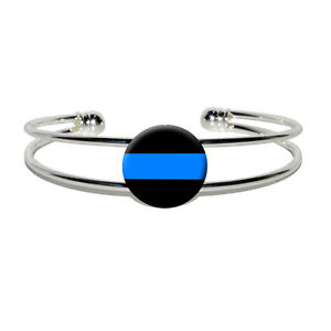 thin blue line cuff bracelet thin blue line novelty silver plated metal cuff bangle 4736