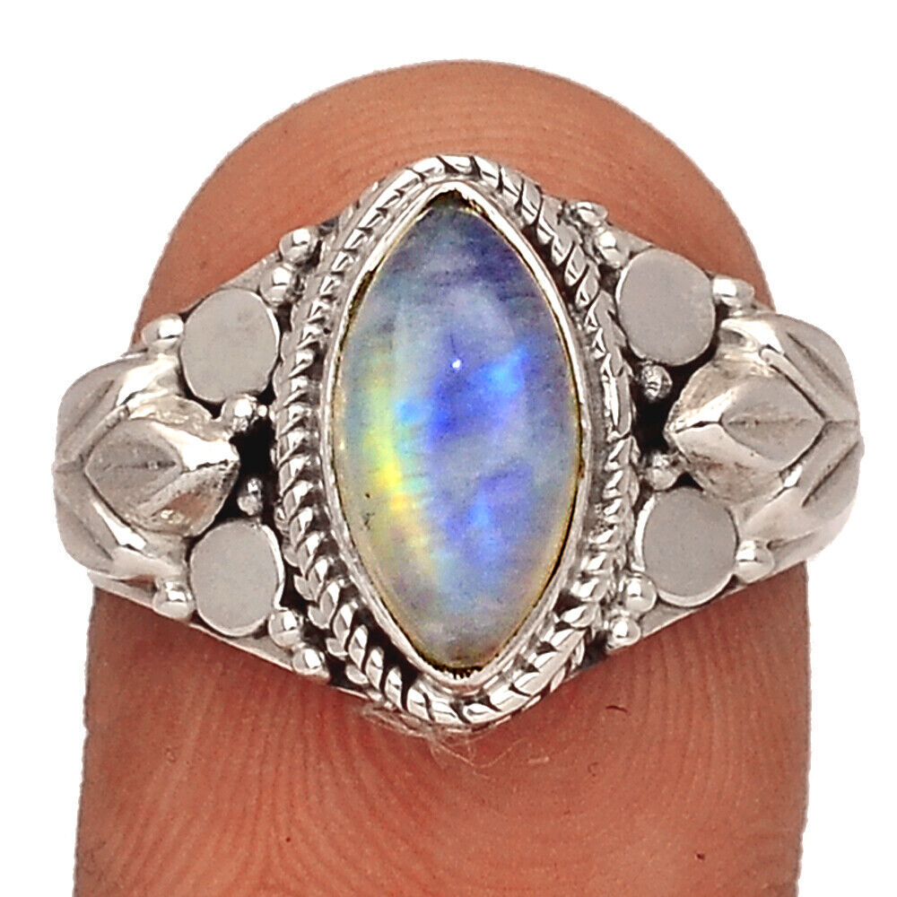 Moonstone - India 925 Sterling Silver Ring Jewelry S.8 BR39081 247F - $12.99