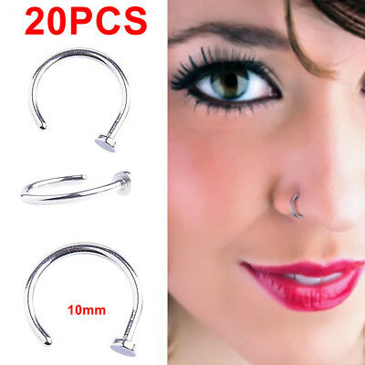 PACK-20 Punk Clip On Fake Nose Open Hoop Ring Lip Earring Navel Ring Piercing US for sale  Humble