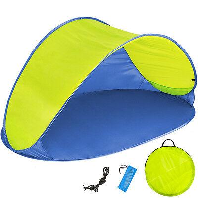 Pop Up Strandmuschel Wurfzelt Sonnenschutz Windschutz Zelt UV Schutz blau gelb