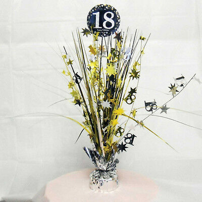 18th Birthday Spray Centrepiece Table Decoration Black Silver Gold Age 18 Party - 18th Birthday Centerpieces