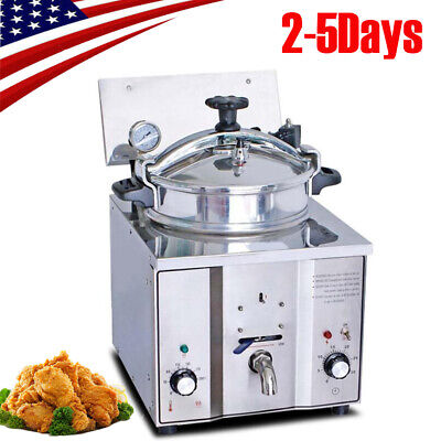16l Commercial Electric Countertop Pressure Fryer Chicken Fish 110v Usa Ship