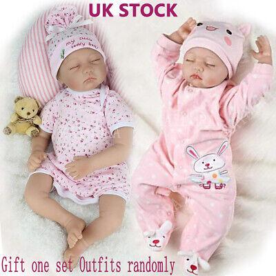 "Realistic Reborn Baby Dolls 22""Lifelike Vinyl Silicone Newborn Girl Doll+Clothes"