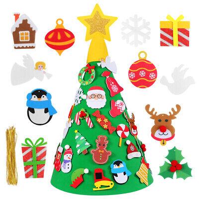 Albero di Natale per Bambini in Feltro da Parete con 29 Addobbi Natalizi 80cm