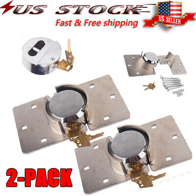 Hidden Shackle Lock Puck Trailer Utility Van Door Round Padlock Hasp Combo Usa